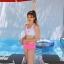 SM-V1- 658 ชุดว่ายน้ำสปอร์ตบราสีขาวสกรีนอักษรชมพู กางเกงสีชมพูสวย thumbnail 8