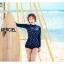 SM-V1-488 ชุดว่ายน้ำแขนยาว สีน้ำเงินกรมท่า ลายดาวดวงเล็กๆสีขาว (เสื้อ+บิกินี่) thumbnail 2
