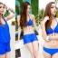 SM-V1-371 ชุดว่ายน้ำเซ็ต 4 ชิ้น สีน้ำเงินสวย บรา+บิกินี่ เสื้อคลุม+กางเกงขาสั้น thumbnail 12