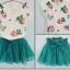 ชุด Set เสื้อสีขาวลายดอกไม้+กระโปรงฟู ไซส์ 120 thumbnail 1