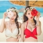 SM-V1-358 ชุดว่ายน้ำบิกินี่ทูพีช บราสีขาว+บิกินี่ลายดอกกุหลาบแดงสวย ๆ thumbnail 8