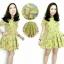 เดรสผ้าแคนวาสลายกล้วยสีเหลือง คอกลม แขนสั้น thumbnail 2