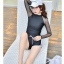 SM-V1-616 ชุดว่ายน้ำแขนยาว สีดำ แขนขาวผ้าตาข่ายซีทรู thumbnail 8