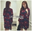 Lady Amanda Dramatic Burgundy Floral Printed Flared-Sleeve Dress L239-69C10 thumbnail 4