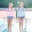 SM-V1-636 ชุดว่ายน้ำแขนยาว เสื้อสีชมพู กางเกงลายสวย thumbnail 7