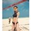 SM-V1-597 ชุดว่ายน้ำบิกินี่ทูพีช สีดำ เสื้อกล้ามซีทรูสวย thumbnail 8