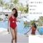 SM-V1-663 ชุดว่ายน้ำวันพีชสีแดงสด คอสายผูก เว้าใต้อก thumbnail 4
