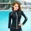 SM-V1-577 ชุดว่ายน้ำแขนยาวซิปหน้า กางเกงขาสั้น สีดำแต่งขอบขาว thumbnail 5