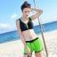 SM-V1-591 ชุดว่ายน้ำสไตล์สปอร์ต เสื้อกล้ามสีดำตัดขอบเขียว กางเกงขาสั้นสีเขียวสดใส thumbnail 5