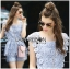 Lady Sophie Sweet Casual Baby Blue Lace Top and Shirts Set L251-89C02 thumbnail 1