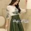 DR-LR-264 Lady Joanne Sweet Vintage Embroidered Olive Green Dress thumbnail 6