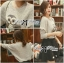 Lady Owl Fur Sweater and Flower Embellished Skirt Set thumbnail 3