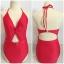 SM-V1-663 ชุดว่ายน้ำวันพีชสีแดงสด คอสายผูก เว้าใต้อก thumbnail 2