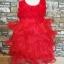 GD029 ชุดเดรสสีแดงสดใส เสื้อประดับดอกไม้ กระโปรงระบาย 4 ชั้น thumbnail 2