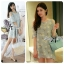 DR-LR-288 Lady Jenna Cut-Out Floral Print Baby Blue Flared Dress thumbnail 1