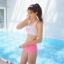 SM-V1- 658 ชุดว่ายน้ำสปอร์ตบราสีขาวสกรีนอักษรชมพู กางเกงสีชมพูสวย thumbnail 4