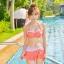 SM-V1-364 ชุดว่ายน้ำเซ็ต 3 ชิ้น สีส้มลายจุดขาว น่ารักๆ (บรา+บิกินี่+กระโปรง) thumbnail 12