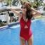 SM-V1-663 ชุดว่ายน้ำวันพีชสีแดงสด คอสายผูก เว้าใต้อก thumbnail 7