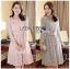 Lady Aliza Classic Vintage Plain Lace Dress with Belt L273-7909 thumbnail 1