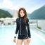 SM-V1-577 ชุดว่ายน้ำแขนยาวซิปหน้า กางเกงขาสั้น สีดำแต่งขอบขาว thumbnail 4