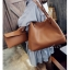 Fashion Bag กระเป๋าเป้ กระเป๋าสะพายข้างสีดำ กระเป๋าเซต 2 ใบ No.0111 - Brown (รหัสสินค้า 2AHI0RK) thumbnail 3