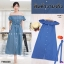 Dress เดรสปาดไหล่ผ้ายีนส์ฟองสี เดรสผ้ายีนส์ฟองสีช่องหน้าอกแต่งระบาย thumbnail 2