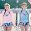 SM-V1-636 ชุดว่ายน้ำแขนยาว เสื้อสีชมพู กางเกงลายสวย thumbnail 5