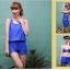 SM-V1-371 ชุดว่ายน้ำเซ็ต 4 ชิ้น สีน้ำเงินสวย บรา+บิกินี่ เสื้อคลุม+กางเกงขาสั้น thumbnail 3
