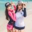 SM-V1-578 ชุดว่ายน้ำแขนยาว กางเกงขาสั้นสีชมพูบานเย็นสวย ๆ thumbnail 12