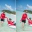 2044 ชุดว่ายน้ำแขนยาว สีแดง+ดำ เซ็ต 3 ชิ้น thumbnail 4