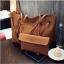 Fashion Bag กระเป๋าเป้ กระเป๋าสะพายข้างสีดำ กระเป๋าเซต 2 ใบ No.0111 - Brown (รหัสสินค้า 2AHI0RK) thumbnail 2