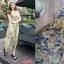 12514 แม็กซี่เดรสยาว แขนกุด ลายดอกกุหลาบ สีเหลือง เทา thumbnail 3