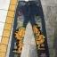 กางเกงยีนส์ผ้าด้านเอวสูงทรงกระบอกเล็ก งานปักเลื่อมแมวเหลืองกาฟิลด์ thumbnail 4