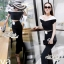 Fashion style black and white color Short strapless wide leg pants, high waist by Aris Code thumbnail 3