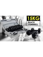 15KG BLACK DUMBBELL SET - T Bar with Rubber ชุดดัมเบลแผ่นสีดำ 15 Kg.