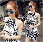 DS-PP-039 Lady Ashley Printed Playsuit in Black and White