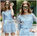 Stephanie Sweet and Chic Baby Blue Lace Dress with Belt L219-89C11