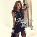 DR-LR-038 Lady Petra Timeless Chic Polka Dots Long-Sleeved Dress