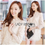 Jessica Sweet Elegant High-Neck Guipure Lace Dress in Off-White L219-75C04