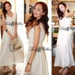 Lady Ribbon White Floral Embellish Lace Maxi L259-8515