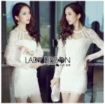 Lady Nana Sweet Classic Body Con Lace and Tulle Dress in White L218-79C03
