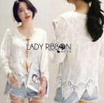 Lady Sara Bohemien Chic Cotton Embroidered with Lace Top L272-5915