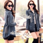 Jeans jacket female spring Korean lace long-sleeved shirt by Aris Code