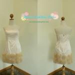Rose Skirt Dress (Cream) ชุดเกาะอกสีครีมกระโปรงตกแต่งดอกกุหลาบ