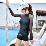 SM-V1-616 ชุดว่ายน้ำแขนยาว สีดำ แขนขาวผ้าตาข่ายซีทรู
