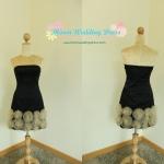Rose Skirt Dress (Black) ชุดเกาะอกสีดำกระโปรงตกแต่งดอกกุหลาบ