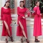 Sevy European Chiffon Red Hot Showing Leg Long Sleeve Maxi Dress S139-99C03