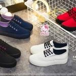 รองเท้าผ้าใบแฟชั่นแพลตฟอร์ม ทำจากผ้าใบสีทูโทนสดใสด้านนอก-ใน