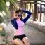 SM-V1-614 ชุดว่ายน้ำแขนยาวสีชมพู-น้ำเงิน กางเกงขาสั้นสีดำ thumbnail 7