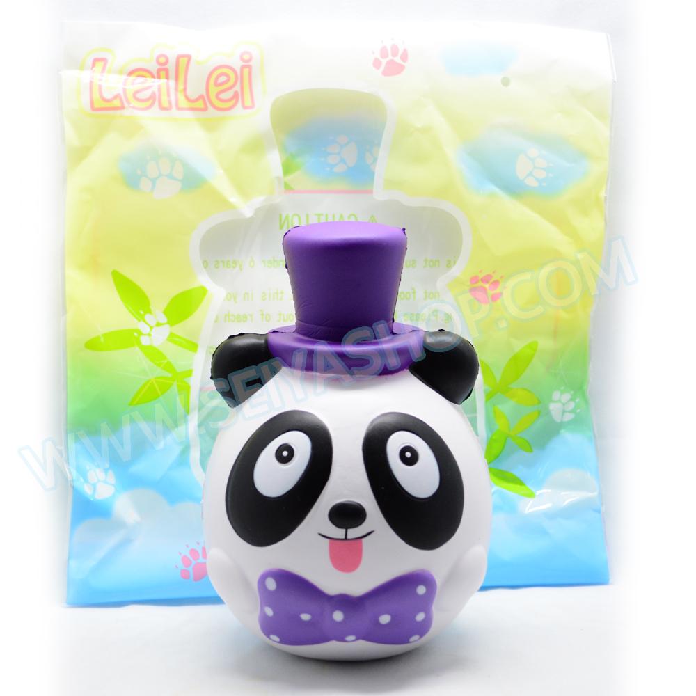 CA838 สกุชชี่ Panda in the hat สีม่วง by lei lei (super soft) มีกลิ่น ลิขสิทธิ์ ขนาด13cm.